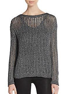 C&C California Ribbed Mesh-Knit Sweater