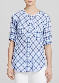 C&C California Shirt - Mandarin Collar Plaid