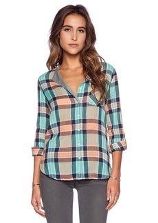C&C California Split Neck Crinkle Plaid Shirt