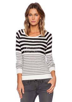 C&C California Stripe Sweater With Faux Leather Detail