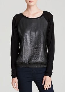 C&C California Sweatshirt - Perforated Faux Leather