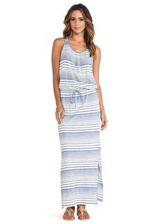 C&C California Variegated Striped Maxi Dress in Blue
