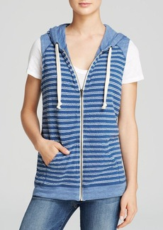 C&C California Vest - Sleeveless Stripe Hooded