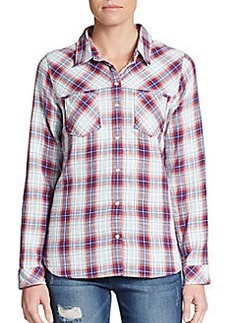 C&C California Yoked Plaid Button-Front Top