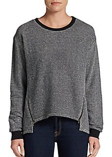 C&C California Zip-Detailed Tweed-Print Sweater