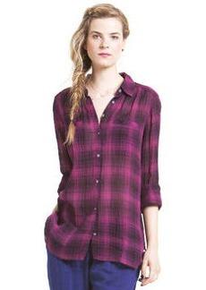 crinkle deco plaid welt pocket tunic shirt