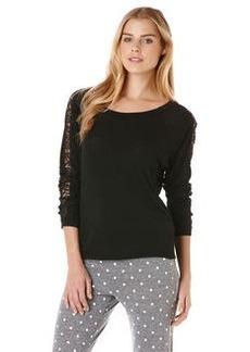 dolman sweatshirt with lace detail