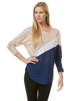 linen colorblock long sleeve dolman top