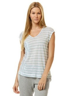linen mixed stripe pocket tee