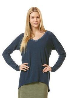 long sleeve double v-neck hi-lo sweatshirt