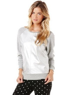 metallic leather/french terry mix sweatshirt