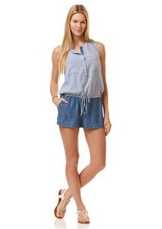 mixed chambray romper