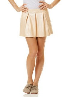 pearlized faux leather mini skirt
