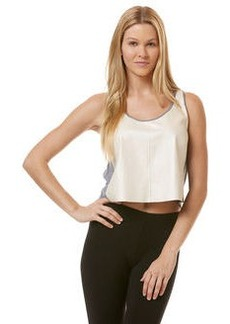 pearlized faux leather tank with heather grey triblend