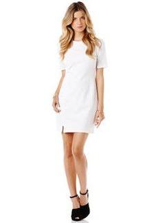 ponte dress with zip slip hem