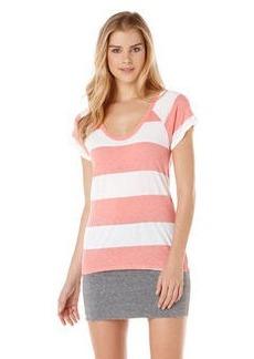 short sleeve stripe raglan slub tee