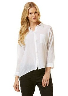 solid ¾ sleeve voile shirt