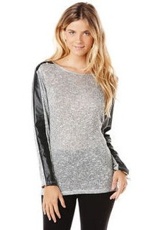 solid tweed dolman with faux leather detail