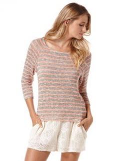 stripe loose knit raglan top