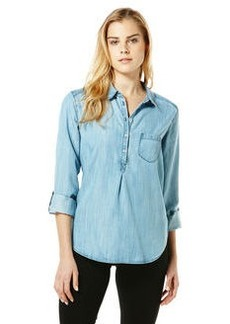 textured chambray henley