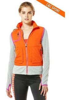 velocity puffer vest with fleece sleeves