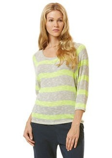vivid stripe ¾ sleeve loose knit raglan top