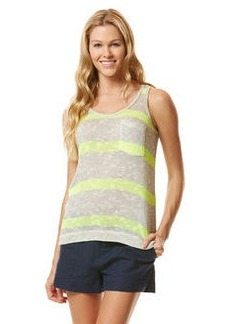 vivid stripe loose knit pocket tank