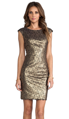Trina Turk Meadows Dress in Metallic Bronze