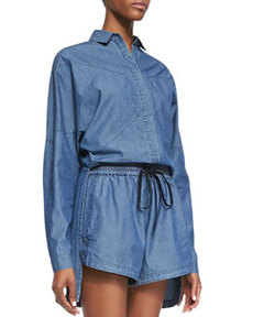 Robert Rodriguez High-Low Seamed Chambray Shirt