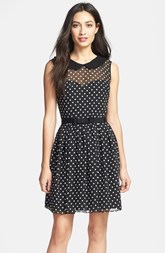 Betsey Johnson Peter Pan Collar Dot Fit & Flare Dress