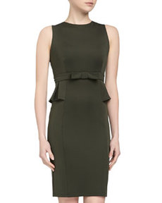 Susana Monaco Bow-Waist Peplum Sheath Dress, Caper