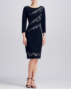 David Meister Lace Striped Inset Dress