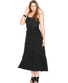 INC International Concepts Plus Size Tiered Maxi Skirt