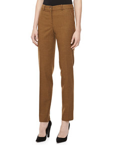 Michael Kors Check Flannel Straight-Leg Pants, Chocolate