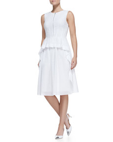 Lela Rose Tiered Zip-Front Cotton Peplum Dress
