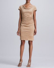 Kay Unger New York Draped-Neck Faux-Suede Dress