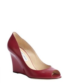 Jimmy Choo raspberry peep toe kid leather wedges