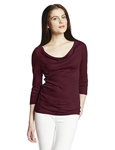 Three Dots Women's Cotton Modal Cowl-Neck Three-Quarter Sleeve Tee Shirt