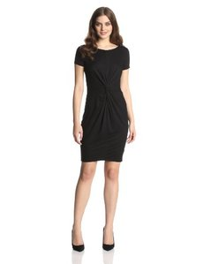Three Dots Women's Short Sleeve Twist Waist Twist Dress