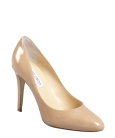 Jimmy Choo nude patent leather point toe pumps