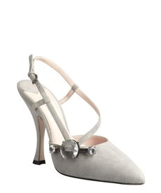 Miu Miu grey suede industrial chic cutout strap pump