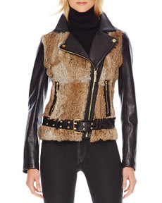 MICHAEL Michael Kors Fur-Front Motorcycle Jacket