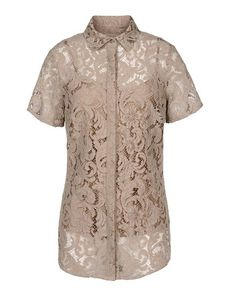 BURBERRY LONDON Lace Solid color Classic Neckline Button closing Detachable inner Lace Woven Short sleeves