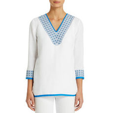 3/4 Sleeve White Tunic with Cove Blue Embroidery