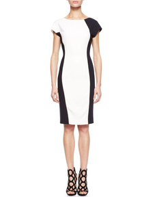 Escada Colorblock Crepe Dress, White/Black