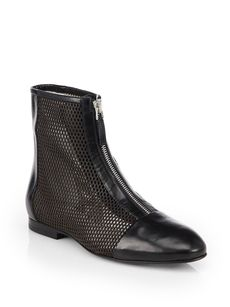 Jil Sander Leather & Mesh Ankle Boots