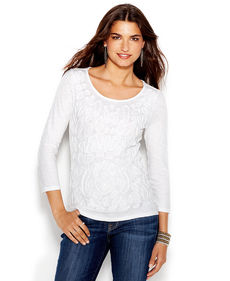 Lucky Brand Soutache-Trim Tee