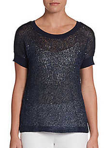 Ellen Tracy Sequined Metallic Knit Top
