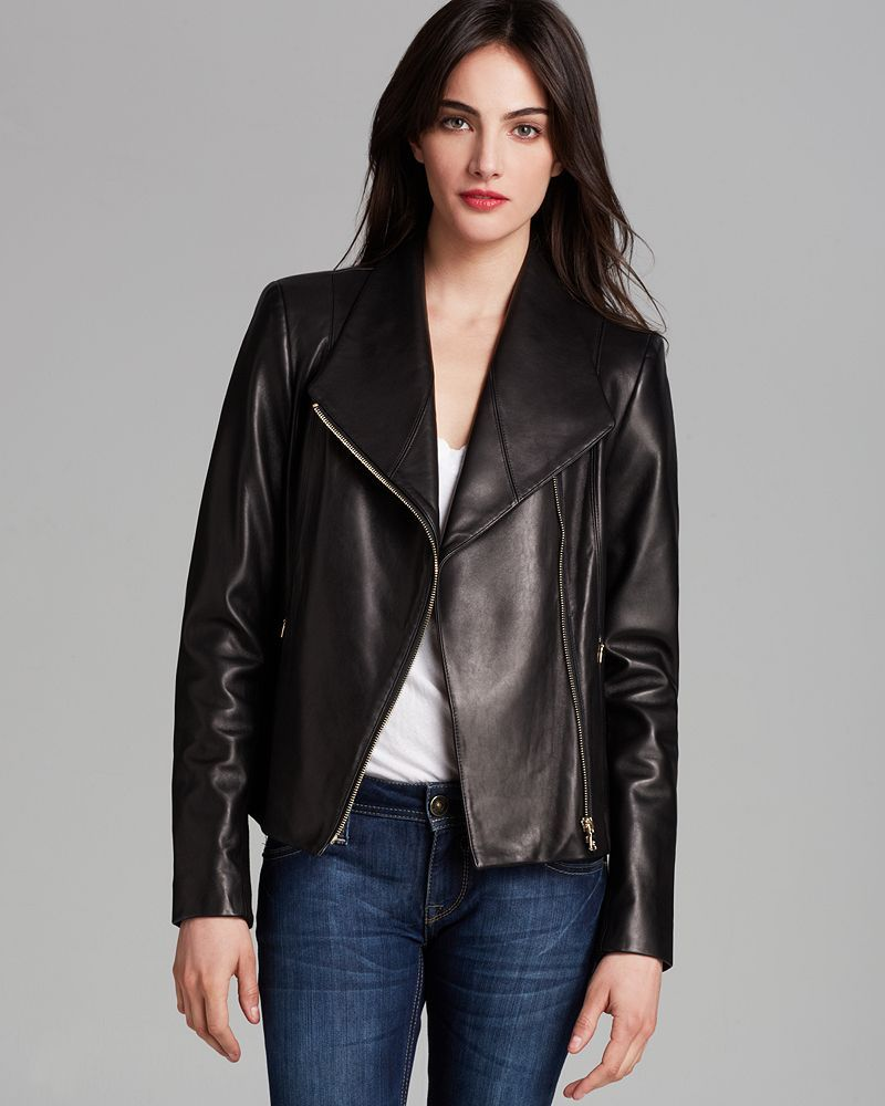 Calvin Klein Asymmetric Zip Leather Jacket