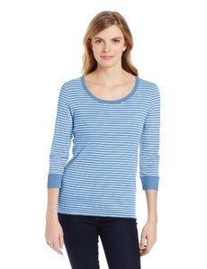 Jones New York Women's 3/4 Striped Sleeve Scoop Neck Shirt with Rib Trim